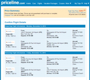 NYC to Seattle: Priceline Booking Page