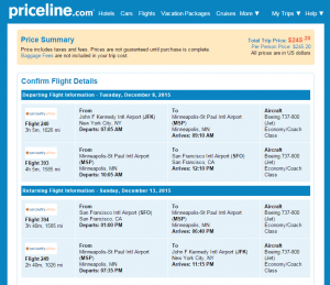 NYC to San Francisco: Priceline Booking Page