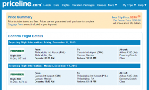 Philly to Cancun: Priceline Booking Page
