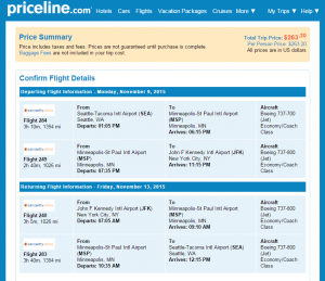 Seattle to NYC: Priceline Booking Page