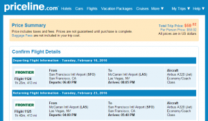 SF to Vegas: Priceline Booking Page