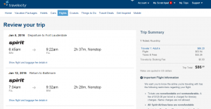 Baltimore to Fort Lauderdale: Travelocity Booking Page