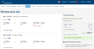 Miami to Montevideo: Travelocity Booking Page