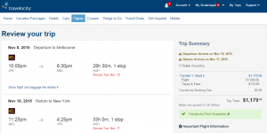 NYC to Melbourne: Travelocity Booking Page