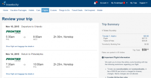 Orlando to Philly: Travelocity Booking Page