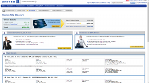 Seattle to Tampa: United Airlines Booking Page
