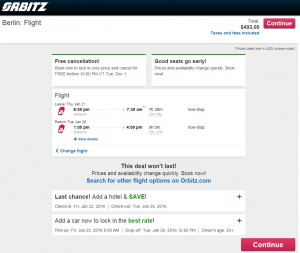 NYC to Berlin: Orbitz Booking Page