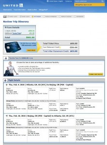 Atlanta-Beijing: United Airlines Booking Page