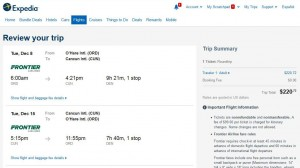 Chicago-Cancun: Expedia Booking Page