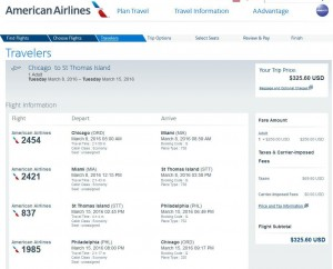 Chicago-Charlotte Amalie: American Airlines Booking Page