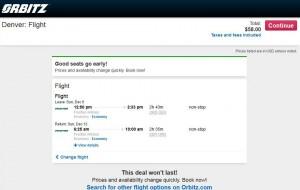 Chicago-Denver: Orbitz Booking Page