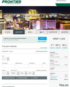 Chicago-Las Vegas: Frontier Airlines Booking Page