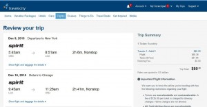 Chicago-New York City: Travelocity Booking Page