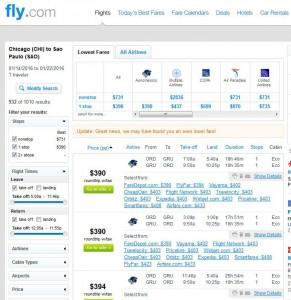 Chicago-São Paulo: Fly.com Search Results