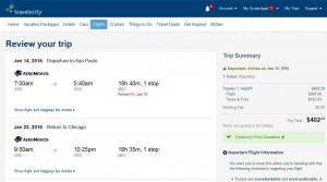 Chicago-São Paulo: Travelocity Booking Page