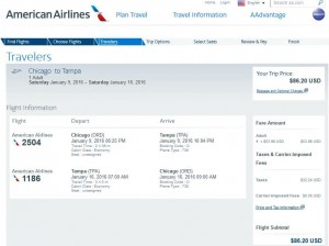 Chicago-Tampa: American Airlines Booking Page