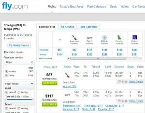 Chicago-Tampa: Fly.com Search Results