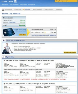 Chicago-Vienna: Airlines Booking Page