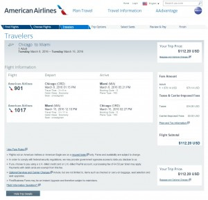 Chicago to Miami: AA Booking Page