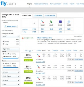Chicago to Miami: Fly.com Results
