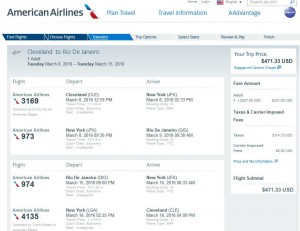 Cleveland-Rio de Janeiro: American Airlines Booking Page