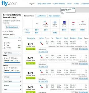 Cleveland-Rio de Janeiro: Fly.com Search Results