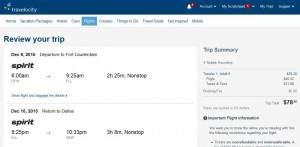 Dallas-Fort Lauderdale: Travelocity Booking Page