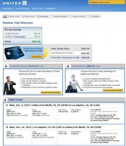 Dallas-Los Angeles: United Booking Page