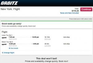 Dallas-New York City: Orbitz Booking Page