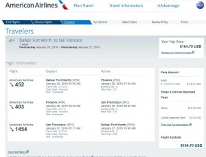 Dallas-San Francisco: American Airlines Booking Page