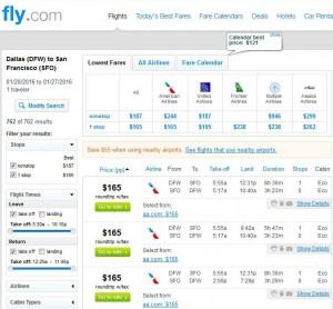 Dallas-San Francisco: Fly.com Search Results