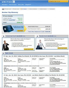 Dallas-San Juan: United Airlines Booking Page