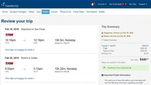 Dallas-Sao Paulo: Travelocity Booking Page