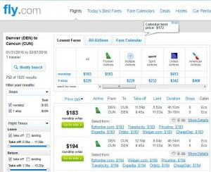 Denver-Cancun: Fly.com Search Results