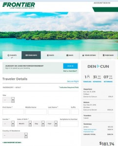 Denver-Cancun: Frontier Airlines Booking Page