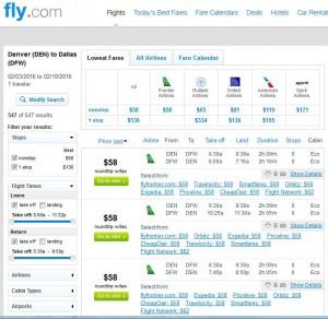Denver-Dallas Fly.com: Search Results