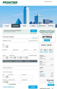Denver-Dallas Frontier: Airlines Booking Page