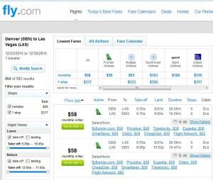 Denver-Las Vegas: Fly.com Search Results