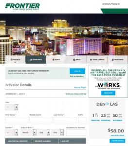 Denver-Las Vegas: Frontier Booking Page