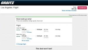 Denver-Los Angeles: Orbitz Booking Page