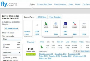 Denver-Los Cabos: Fly.com Search Results