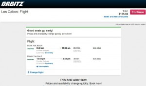 Denver-Los Cabos: Orbitz Booking Page