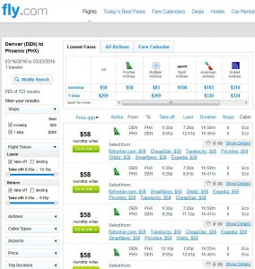 Denver-Phoenix: Fly.com Search Results