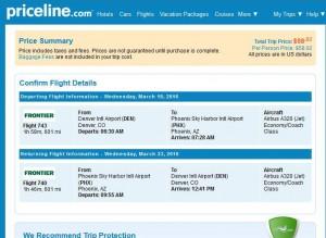 Denver-Phoenix: Priceline Booking Page