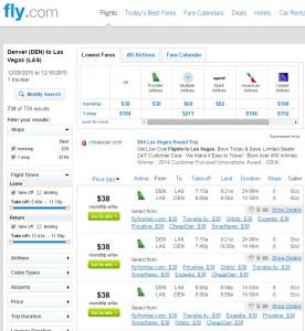 Denver to Las Vegas: Fly.com Results