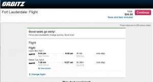 Detroit-Fort Lauderdale: Travelocity Booking Page