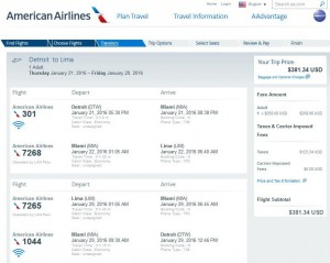 Detroit-Lima: American Airlines Booking Page