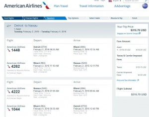 Detroit-Nassau: American Airlines Booking Page