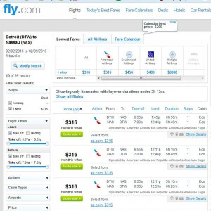 Detroit-Nassau: Fly.com Search Results