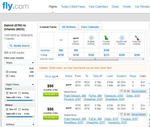Detroit-Orlando: Fly.com Search Results